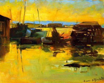 San Pedro Harbor Sunset | Franz Bischoff | oil painting