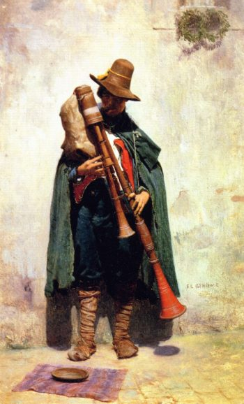 Italian Playing a Doodlesack | Jean Leon Gerome | oil painting