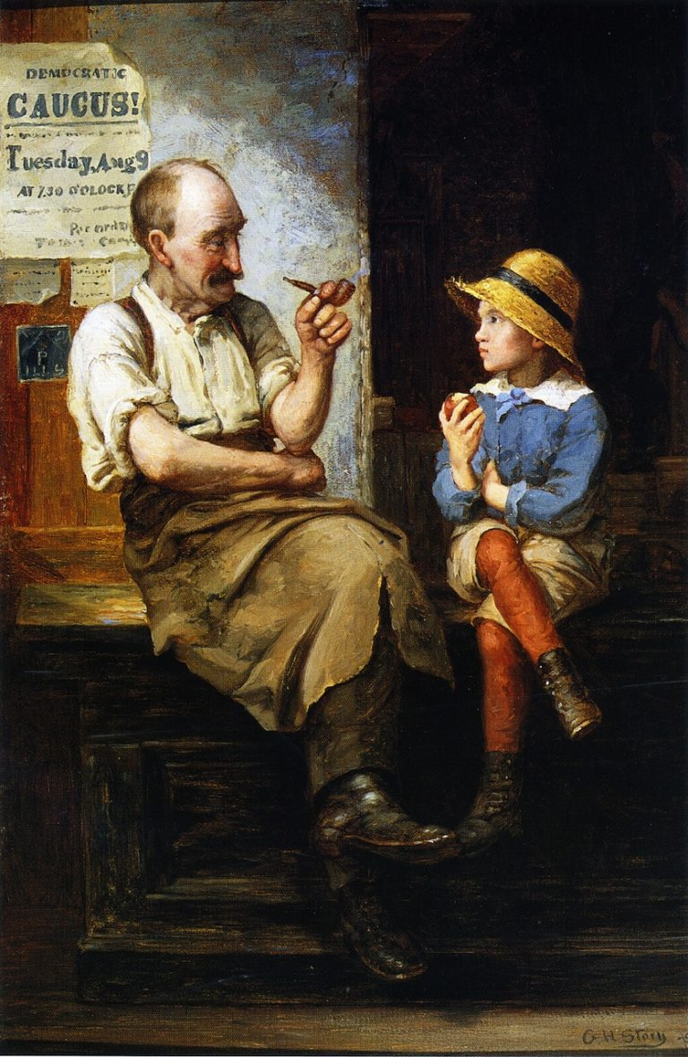 A Chance Acquaintance | George Henry Story | oil painting