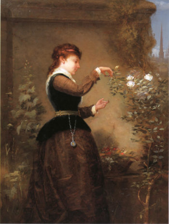 Tending the Rose Bush | George Henry Story | oil painting