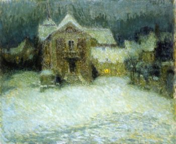 A Plaza in the Snow at Gerberoy | Henri Le Sidaner | oil painting