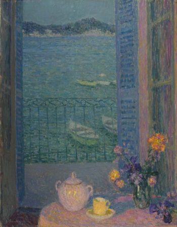 Bouquet by the window | Henri Le Sidaner | oil painting