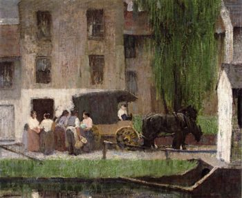 The Peddlers Cart on the Canal New Hope | Robert Spencer | oil painting