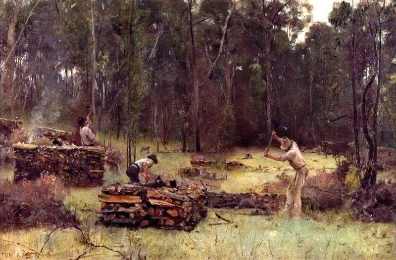 Wood Splitters   Tom Roberts   oil painting