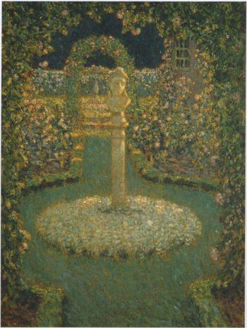 Garden in the full moon | Henri Le Sidaner | oil painting