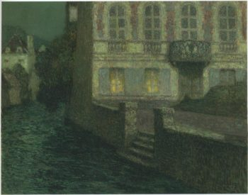 House by the River in full moon 1 | Henri Le Sidaner | oil painting