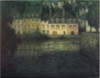 House by the river in full moon | Henri Le Sidaner | oil painting