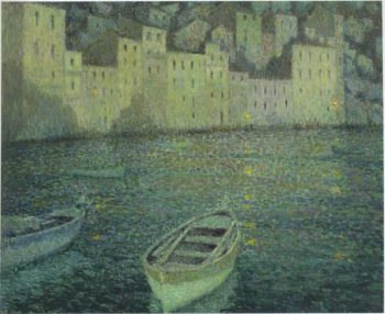 Houses by the Port in a full moon | Henri Le Sidaner | oil painting
