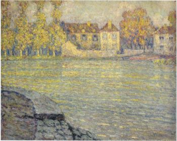 Houses by the river at sunset | Henri Le Sidaner | oil painting