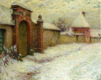 Le Portail Niege Gerberoy | Henri Le Sidaner | oil painting