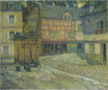 Place de Puits en Honfleur | Henri Le Sidaner | oil painting