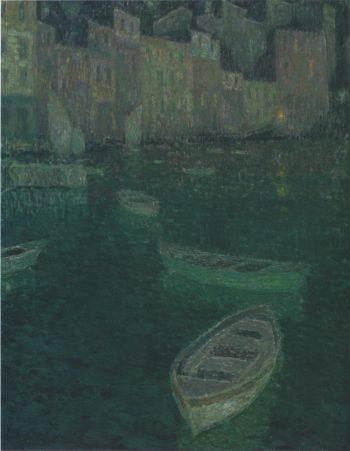 Port in Full Moon | Henri Le Sidaner | oil painting