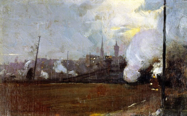 Evening Train to Hawthorn | Tom Roberts | oil painting