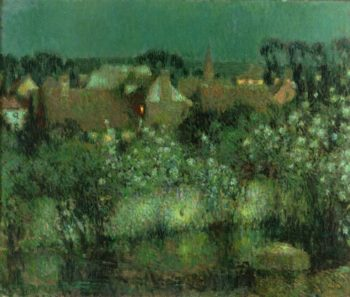 Rooftops in Moonlight | Henri Le Sidaner | oil painting