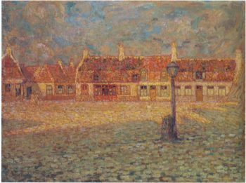 Sunset at the Petit Place Gravelines | Henri Le Sidaner | oil painting