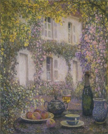 Table at the Mansion with Flowers | Henri Le Sidaner | oil painting