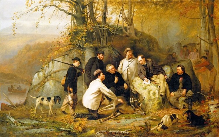 Claiming the Shot A Group of Portraits after the Hunt in the Adirondacks | John George Brown | oil painting