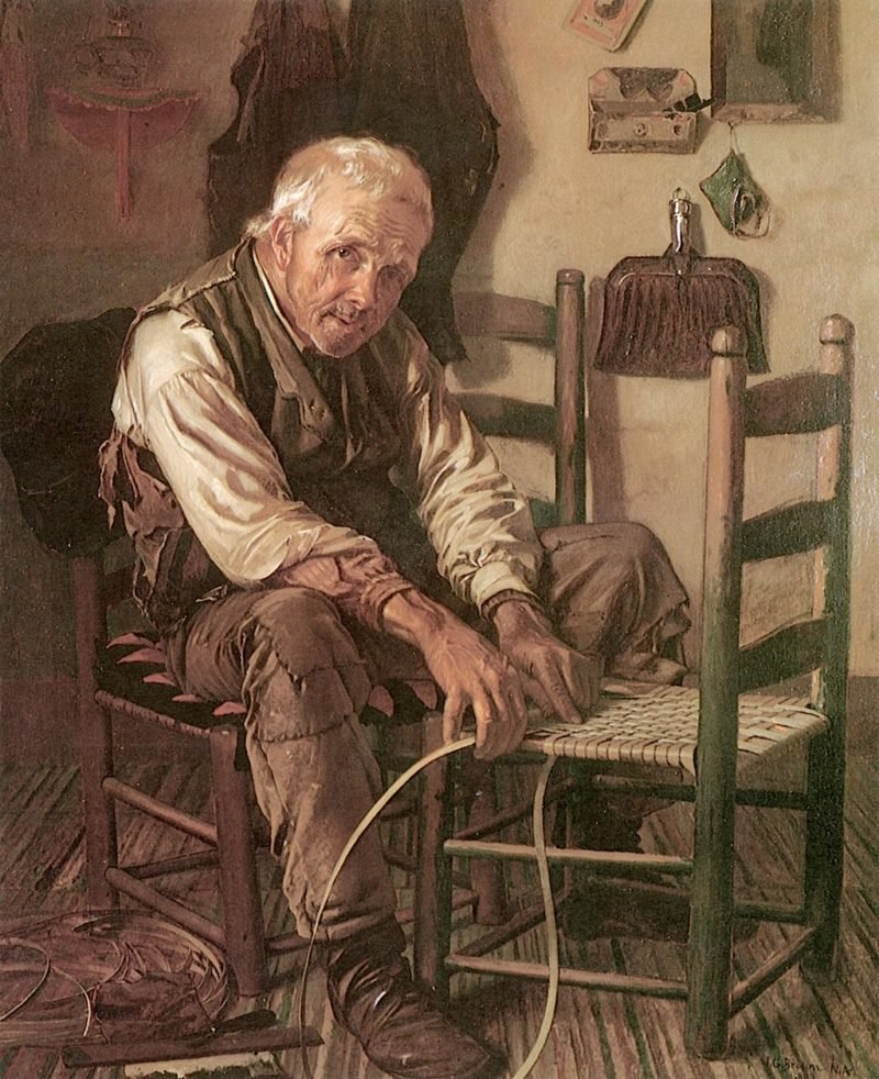 Caning the Chair | John George Brown | oil painting