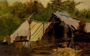 Camp in the Maine Woods No 3 | John George Brown | oil painting