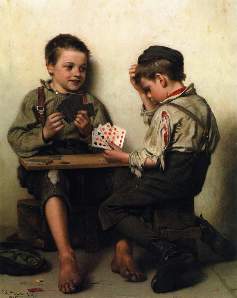 Bluffing | John George Brown | oil painting