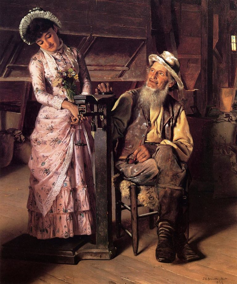A New Weight | John George Brown | oil painting