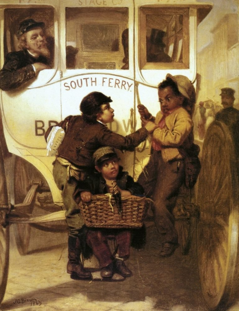 A Newspaper Boy Hitching a Ride | John George Brown | oil painting