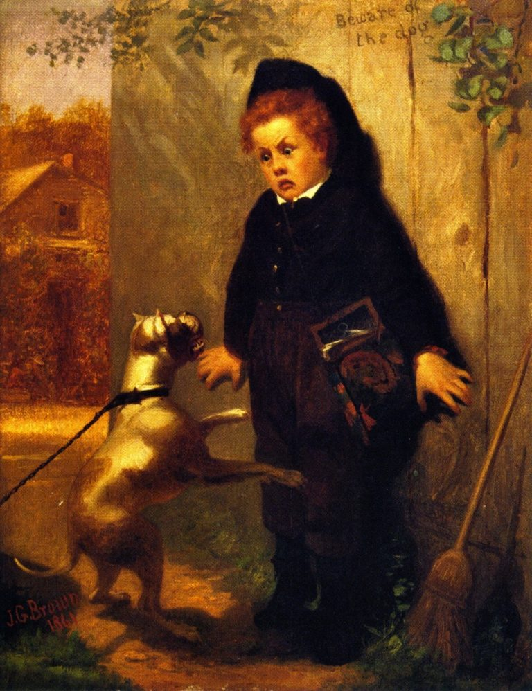 Beware of the Dogs | John George Brown | oil painting