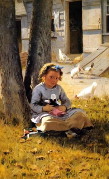 At Home | John George Brown | oil painting