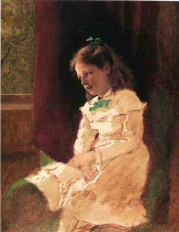 A Young Girl by the Window | John George Brown | oil painting