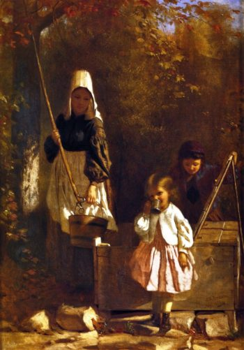 At the Well | John George Brown | oil painting