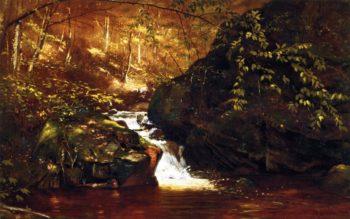 Waterfall Huntington Massachusetts | John George Brown | oil painting