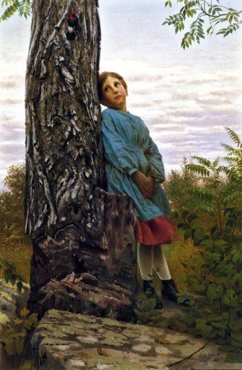 Watching the Woodpecker | John George Brown | oil painting