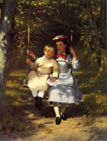 Two Girls on a Swing | John George Brown | oil painting