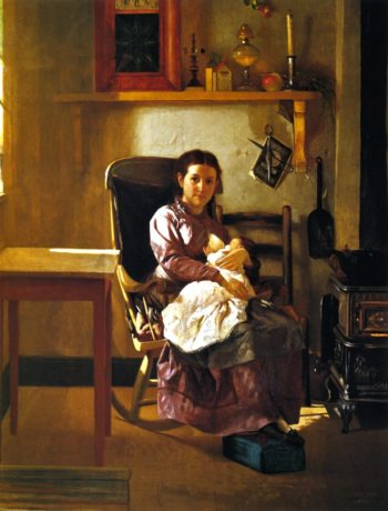 The Young Mother | John George Brown | oil painting