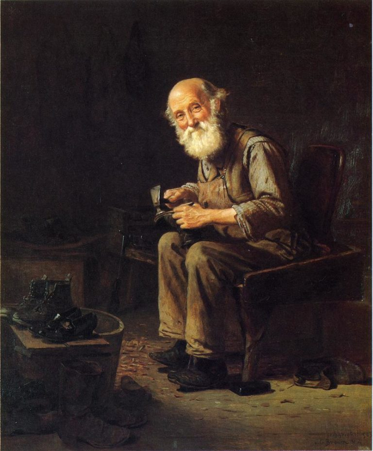 The Village Cobbler | John George Brown | oil painting