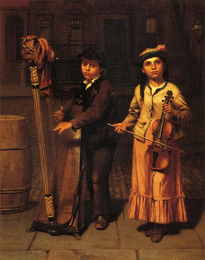 The Two Musicians | John George Brown | oil painting