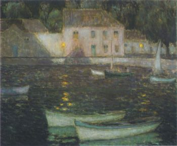 White Boats in a full moon | Henri Le Sidaner | oil painting