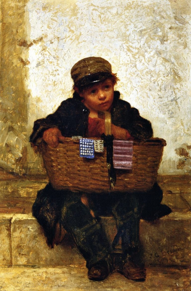 The Button Seller | John George Brown | oil painting