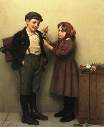 he Button Hole Posey | John George Brown | oil painting