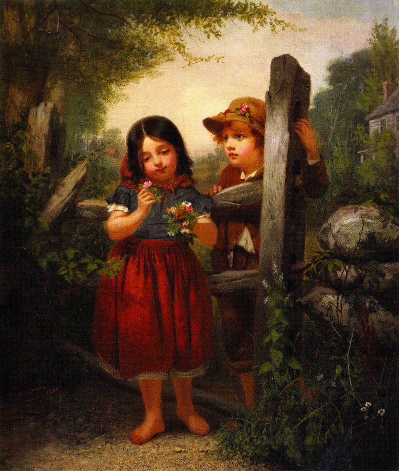 The Bouquet | John George Brown | oil painting