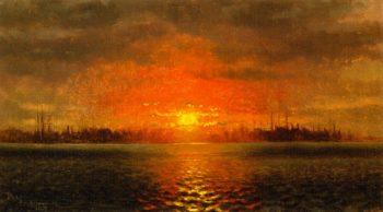 Sunset New York Harbor | John George Brown | oil painting