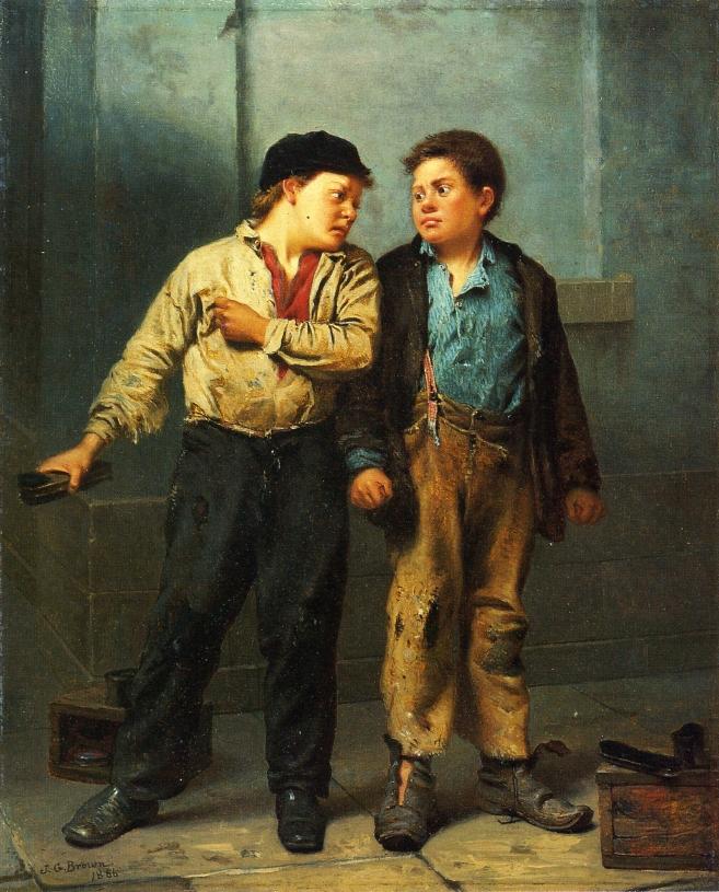 The Quarrel | John George Brown | oil painting