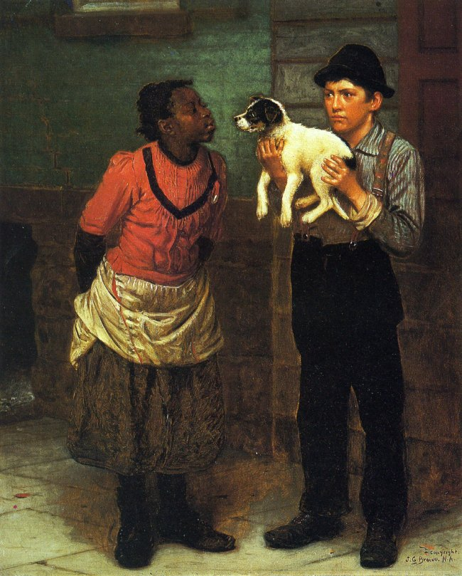 The New Puppy | John George Brown | oil painting