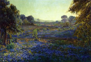 Bluebonnets at Late Afternoon near La Grange Texas | Julian Onderdonk | oil painting
