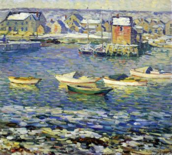 Rockport Boats in a Harbor   Robert Spencer   oil painting