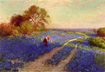 Bluebonnet Scene with a Girl | Julian Onderdonk | oil painting