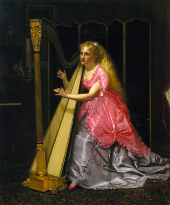 The Harpist | John George Brown | oil painting
