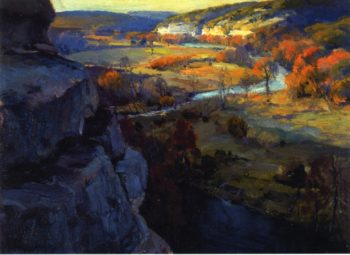 Bluffs on the Guadalupe Riiver 17 Miles above Kerryville Texas | Julian Onderdonk | oil painting