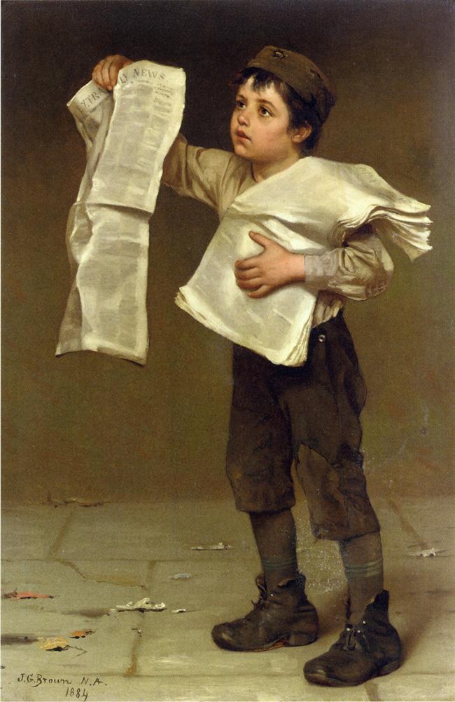 Newsboy | John George Brown | oil painting