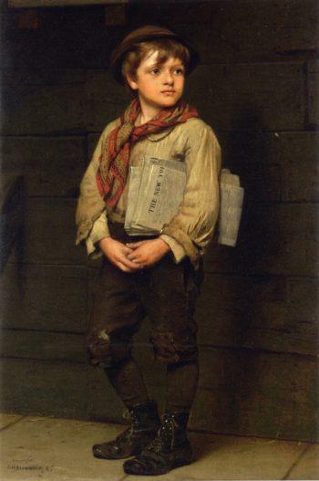 News Boy | John George Brown | oil painting